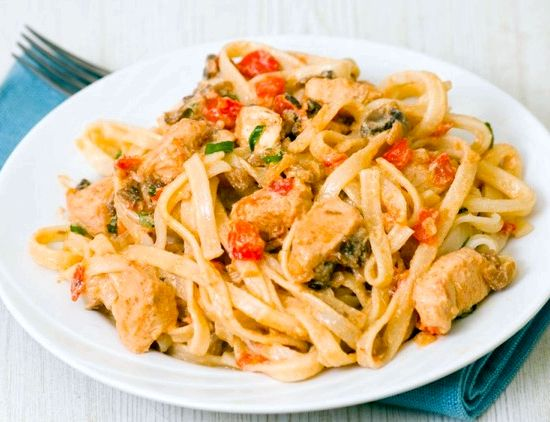 Паста с курицей и грибами в томатном соусе пошаговый рецепт