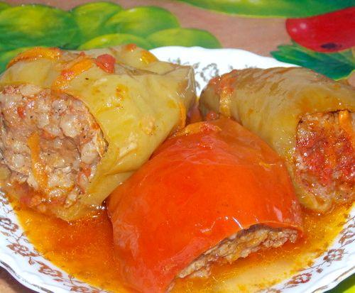 Перец фаршированный баклажанами в духовке рецепт