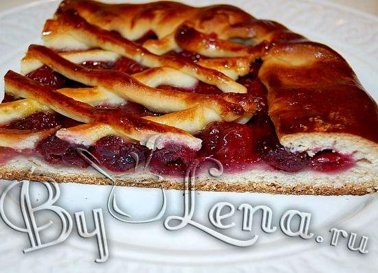 Дрожжевое тесто пирог с вишней фото