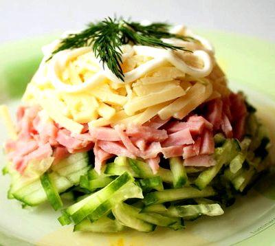 рецепты салатов нежность с ветчиной