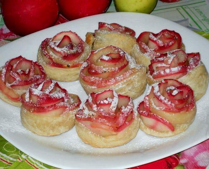 слоеные булочки с яблоками рецепт с фото