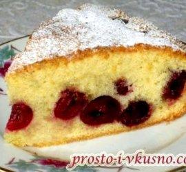 Пирог с вишней в духовке простой рецепт