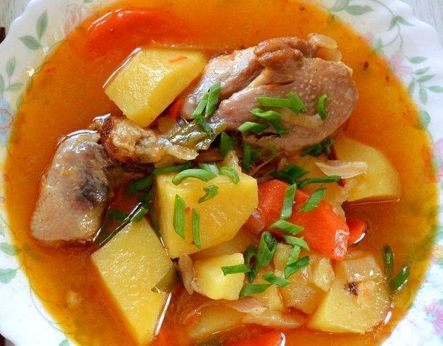 Тушёная картошка в мультиварке с курицей рецепт с фото пошаговый