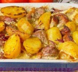 Свиная грудинка запеченная в духовке с картошкой рецепт с фото
